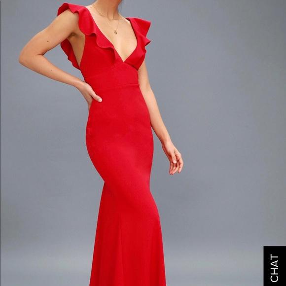 3cbced3f07ed Lulu's Dresses | Red Vneck Prom Dress | Poshmark